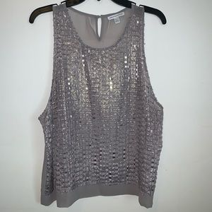 American Eagle Outfitters Silver and Grey Top